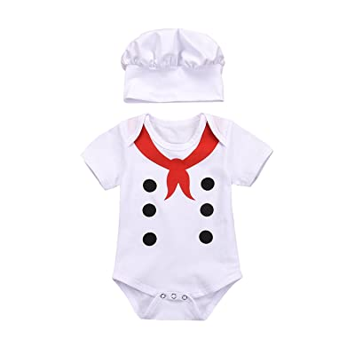 AILOM Infant Newborn Baby Boys Girls Summer Short Sleeve Jumpsuit Casual Outfits +Hat Sets