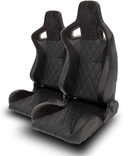 Lot de 2 si/èges auto Sportsitz Racingseat en cuir synth/étique Alcantara Diamond Noir