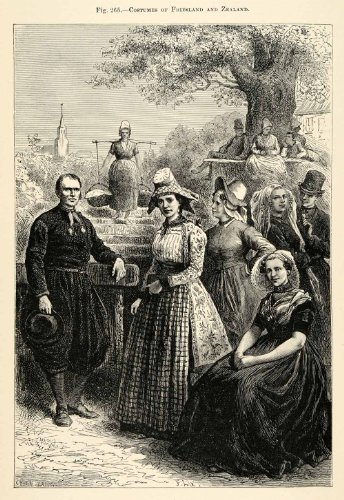 1882 Wood Engraving Costume Friesland Zealand Dress Traditional Hat Netherlands - Original Wood Engraving