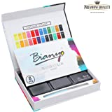Watercolor Paint Set - 36 Watercolors Field Sketch Set - Vibrant Colors - Professional Supplies - With Water Brush,8 Pieces Watercolor Paper by Bianyo