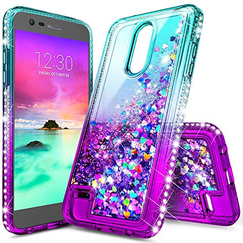 LG K30 Phone Case,Phoenix Plus Case,Premier Pro LTE Case,Lovemecase Glitter Liquid Quicksand Bling Flowing Sparkle Shiny Diamond Girls Protective Phone Case(Gradient Aqua/Purple) ()