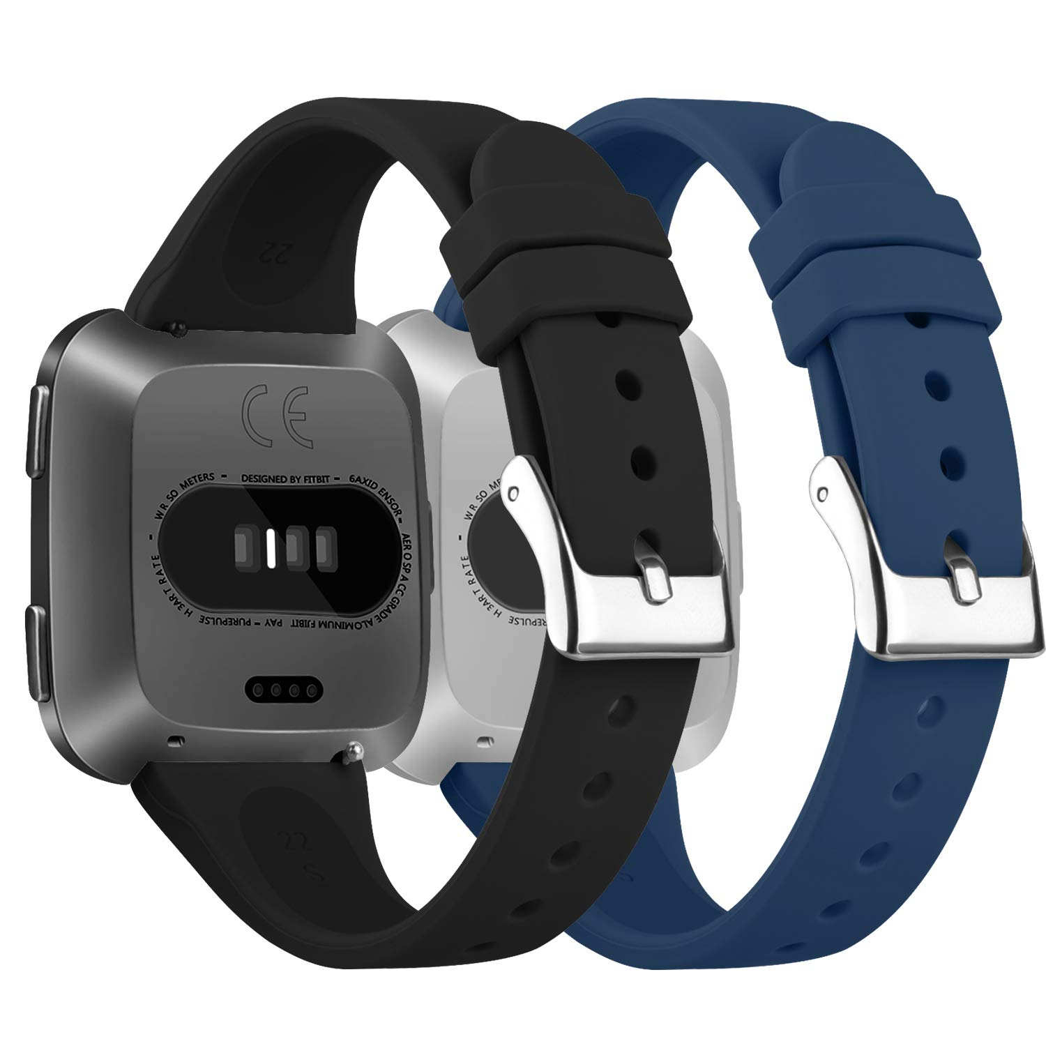 Narrow /& Thin Sport Wristband with Metal Buckle for Women//Men Tobfit 2 Pack Silicone Slim Bands Compatible for Fitbit Versa//Lite//SE