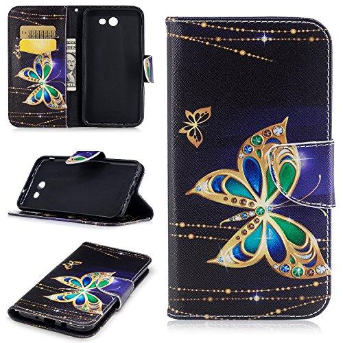 Galaxy J7 V Case, Galaxy J7 2017 Case, J7 Sky Pro Case, J7 Perx Case, Ranyi [Flip Patterned Wallet] [ID&Credit Card Slot] [Kickstand Feature] Cute Flip Folio PU Leather Wallet Case (big butterfly)