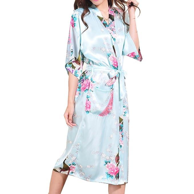 Juleya Stain Kimono Batas de baño Sexy Babydoll Floral camisón Home Vestidos de Mujer: Amazon.es: Ropa y accesorios