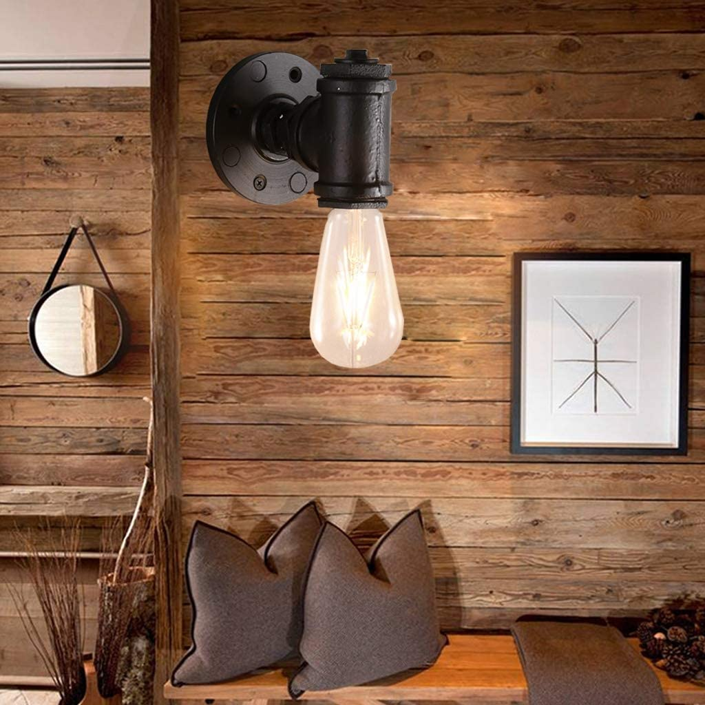 Home Garden Store Industrial Vintage Wall Lights Fitting Lamp Water Pipe Wall Sconces Fixture For Home Decor Pub Cafe Hotel Steampunk Style E27 Wall Spotlights