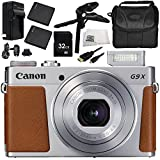 Canon PowerShot G9 X Mark II Digital Camera (Silver) 9PC Accessory Bundle – Includes 32GB SD Memory Card, 2x Replacement Batteries, MORE - International Version (No Warranty)