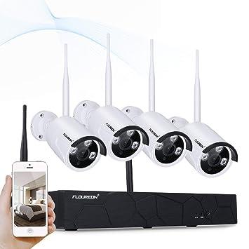 FLOUREON Seguridad inalámbrica Sistema de cámaras, 4CH 1080P NVR Kit 4Pcs Cámaras de Seguridad 960P IP, Sistema de cámara CCTV P2P SIN HDD: Amazon.es: ...