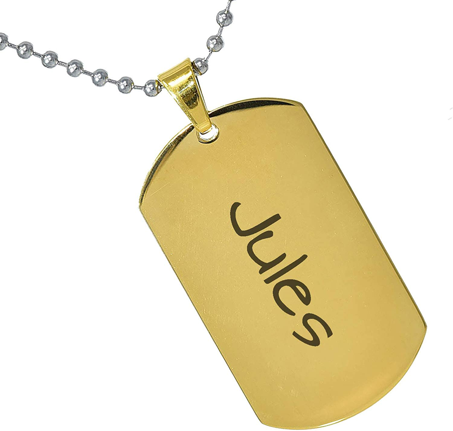 Stainless Steel Silver Gold Black Rose Gold Color Baby Name Jules Engraved Personalized Gifts For Son Daughter Boyfriend Girlfriend Initial Customizable Pendant Necklace Dog Tags 24 Ball Chain