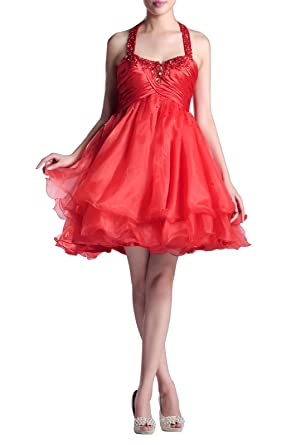 73e4e96cb13 Formal Prom Dress Organza Straps Halter Short Empire Night Out   Cocktail  Dress