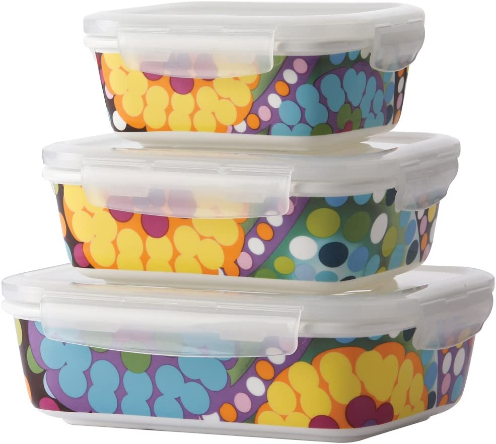 French Bull 3 Piece Porcelain Food Storage Container Set - Lunch, Airtight - Bindi