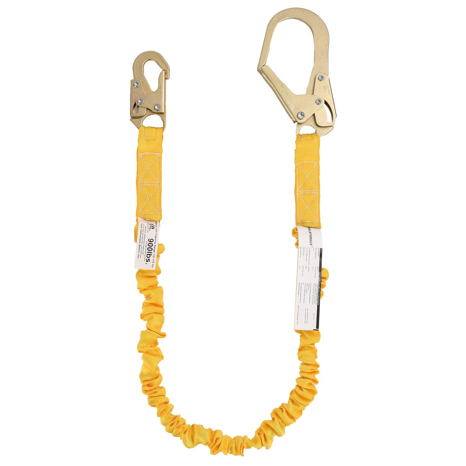 WELKFORDER Single Leg 6-Foot Fall Protection Internal Shock Absorbing Stretchable Safety Lanyard with Snap & Rebar Hook Connectors ANSI Complaint