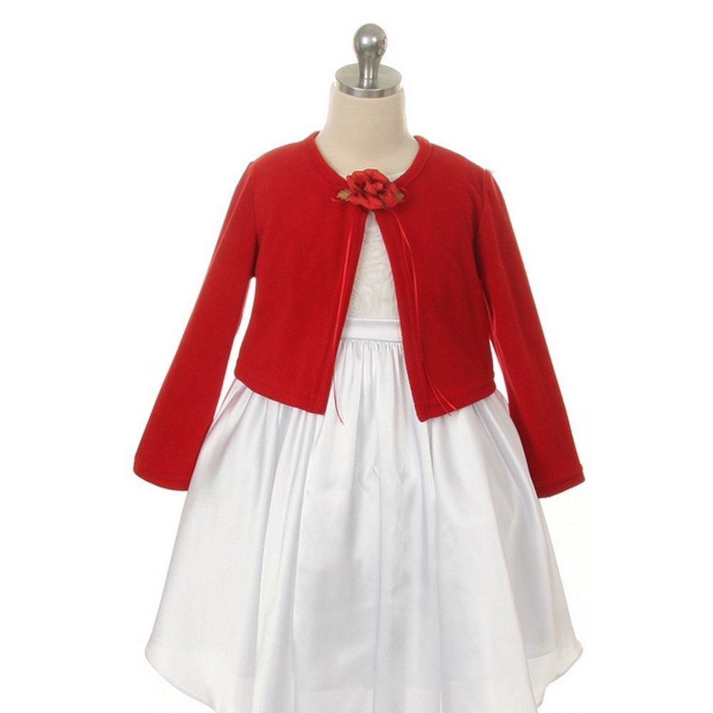 Kid's Dream Red Flower Special Occasion Cardigan Sweater Girls 6