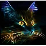EOBROMD 5D DIY Diamond Painting, Full Diamond Embroidery Painting Wall Sticker for Wall Decor - Cat in the Dark (12 x 12inch)