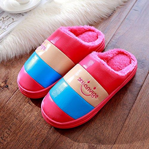 DogHaccd pantofole,Inverno pantofole di cotone femmina maschio INVERNO Pacchetto soggiorno spesso le coppie indoor anti-slittamento peluche home pantofole inverno,Il rosso40-41