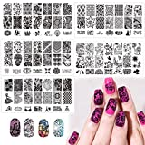 Nail Art Stamp Stamping Plates with Polished Stamper Scraper Kit -DAODER 5pcs Stainless Steel Plates for Nail Art Lace Flower Flora Pattern Nail Printing Plates with 1 Jelly Stamper + 1 Scraper