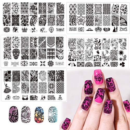 Nail Art Stamp Stamping Plates with Polished Stamper Scraper Kit -DAODER 5pcs Stainless Steel Plates for Nail Art Lace Flower Flora Pattern Nail Printing Plates with 1 Jelly Stamper + 1 Scraper -