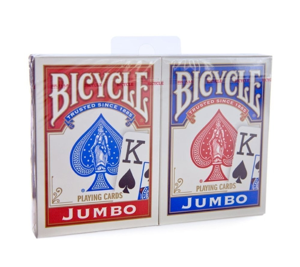 Brybelly Bicycle Rider Back - Red & Blue Jumbo Index Playing Cards (2-Pack of 2) by Brybelly