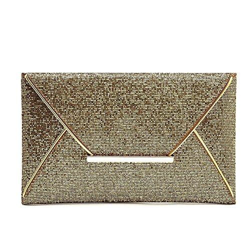 Partito Solido Con Del Borsa Borse Sposa Alextry Envelope In Da Simple Di Signore Delicato Clutch Gold Fashion Brillantini Della Bag Delle Pelle Women Colore qxavpS