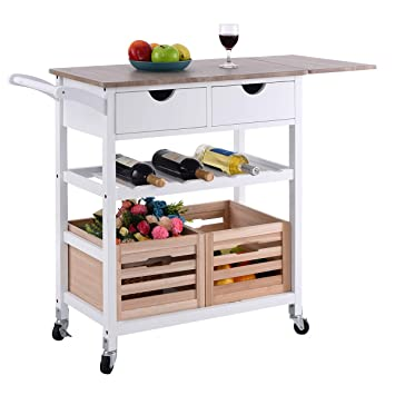 wine rack kitchen island Costzon Kitchen Trolley Island Cart Dining Storage With Drawers Basket Wine Rack