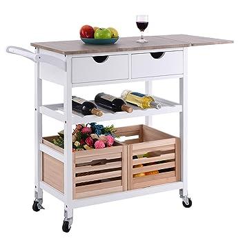 Amazon.com: Costzon carrito de cocina con ruedas, con ...