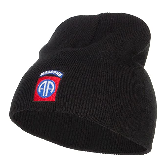 8dd21cd7452 Amazon.com  E4hats 82nd Airborne Embroidered Short Beanie - Black ...