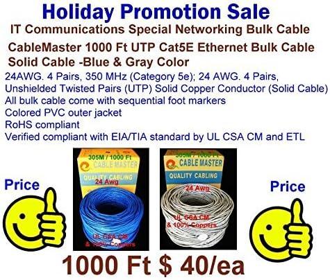 Full Copper Cable Gray Vaster-00038 305 M UTP Cat5e Communication Networking Bulk-Solid UL//CSA//CM-24Awg