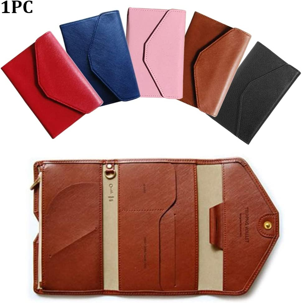 11.3x16.5x2cm,Coffee Multi-purpose Portable Soft PU Travel Card Wallet Tri-fold Ultrathin Document Organizer Holder Passport Pocket