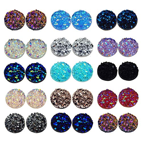 JJG 200 PCS Mixed Colors Faux Druzy Quartz Round Flat Back Dome Cabochons DIY Accessories, 8mm Diameter