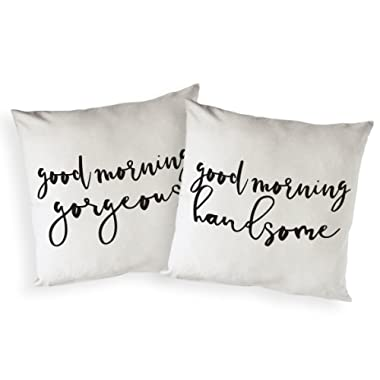 The Cotton & Canvas Co. Good Morning Gorgeous and Good Morning Handsome Home Decor Pillow Cover, Pillowcase, Cushion Cover and Decorative Throw Pillow Case, 2-Pack