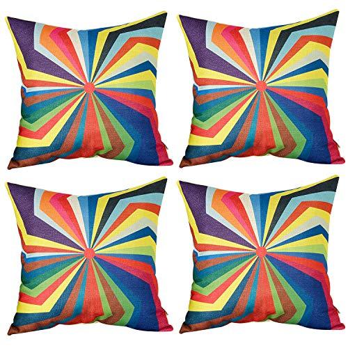 Paisley Outdoor Throw Pillows (Top Finel Square Decorative Throw Pillow Cases Cotton Linen Outdoor Cushion Covers 18 X 18 for Sofa, Set of 4 - Umbrella)