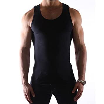 007dfa45c3f836 6 Pc 100% Premium Cotton Mens A-Shirt Wife Beater Ribbed Tank Top Black L  !  Amazon.co.uk  Sports   Outdoors