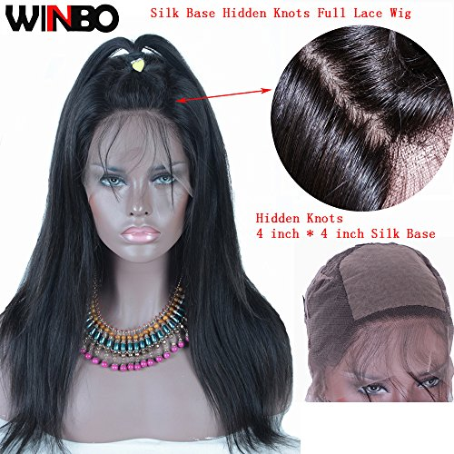WINBO Silk Base Full Lace Wig 8A Human Hair Natural Black Pre Plucked Hair Line Baby Hair (20 INCH, Straight Hair) by Winbo