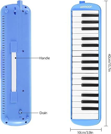 Melodica 32 Teclas, ammoon con Paquete Duro Pianica Teclado de Estilo Piano Harmónica Órgano Bucal con Boquilla Paño de Limpieza Estuche para ...
