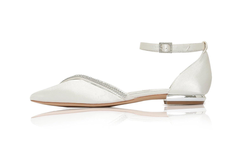 MarHermoso Damen Strap Elegante Ballerinas Satin Ankle Strap Damen Abendschuhe Brautschuhe Ivory d13026