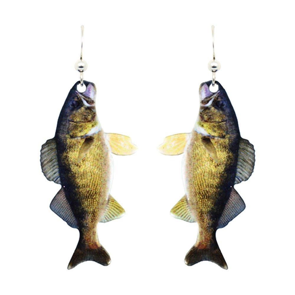 Walleye Earrings by dears Non-Tarnish Sterling Silver French Hook Ear Wire