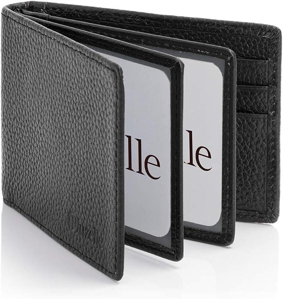Ausweish/ülle bluzelle Echt-Leder Ausweismappe Karten-H/üllen Klappbare Kartenhalter Smart Wallet Card Holder Kreditkarten-Etui
