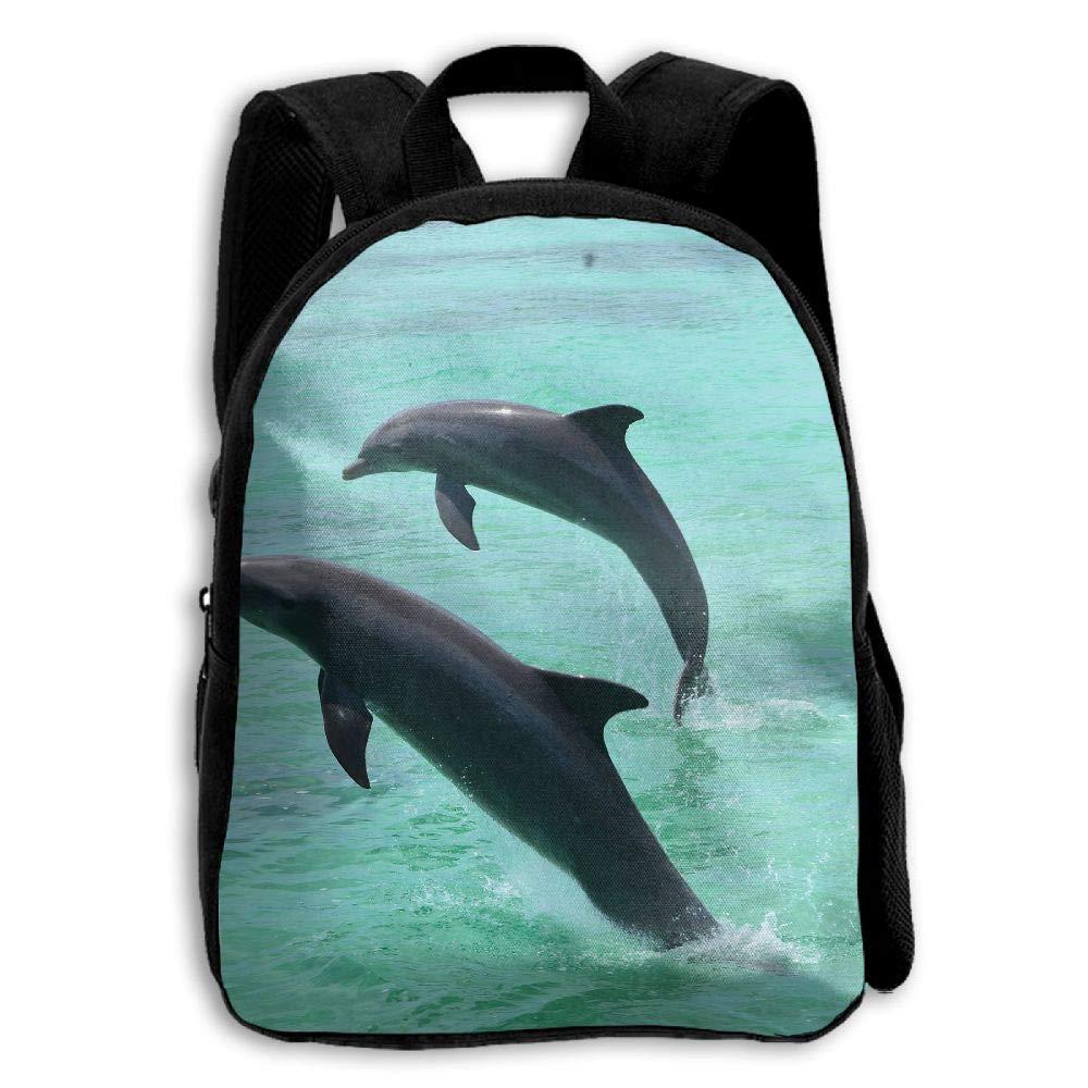 YEWEI Jump Dolphins 男女兼用 3Dプリント ワイドジッパー 学校 旅行バッグ ショルダーバッグ 子供用バックパック   B07GDDRR7C
