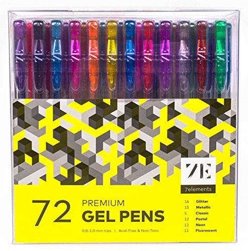 Gel Ink Colored Pens set of 72 Assorted Colors Medium Point