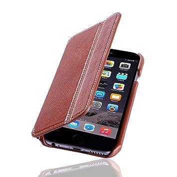 Lavadia Design Lederklapphülle Case Tasche Arizona Für Apple Iphone 6 6s Braun Aus Echtem Leder Mit Visitenkarten Und Geldfach Dünne Ledertasche