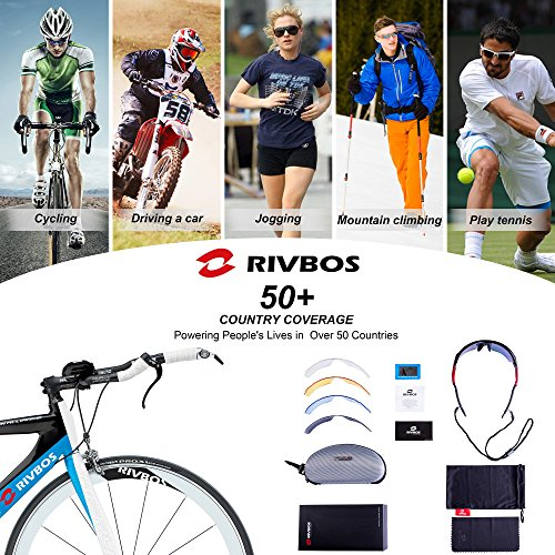 RIVBOS Sports Cycling 801 Sun Lenses White amp;Blue Interchangeable 5 Glasses Sunglasses Men Runing Baseball for Polarized Women with HrSqEwH6