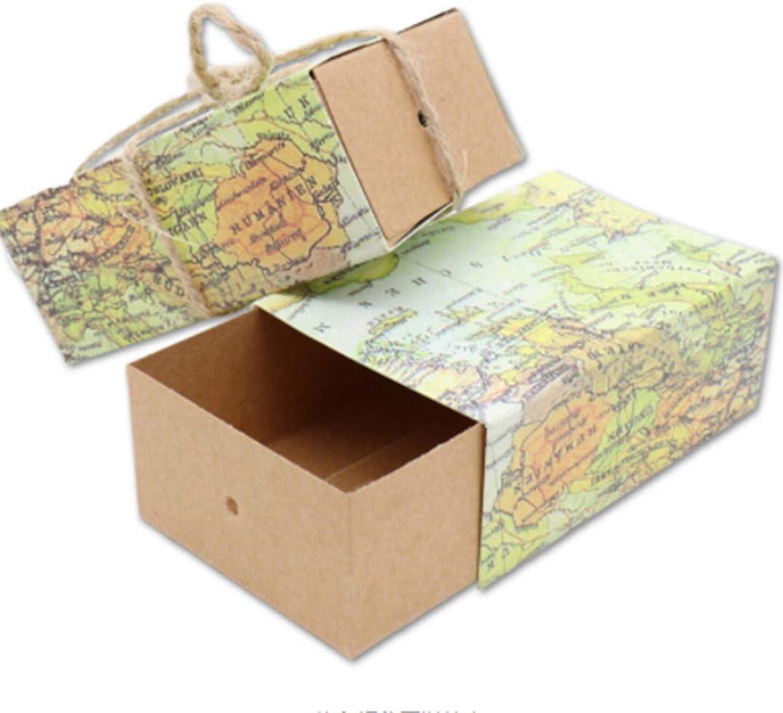 JOOFFF - Caja de azúcar con 10 cajones, diseño de mapa de maleta creativo y vintage, papel kraft con etiquetas, caja de regalo para bodas, viajes, decoración de fiestas, papel, World Map,