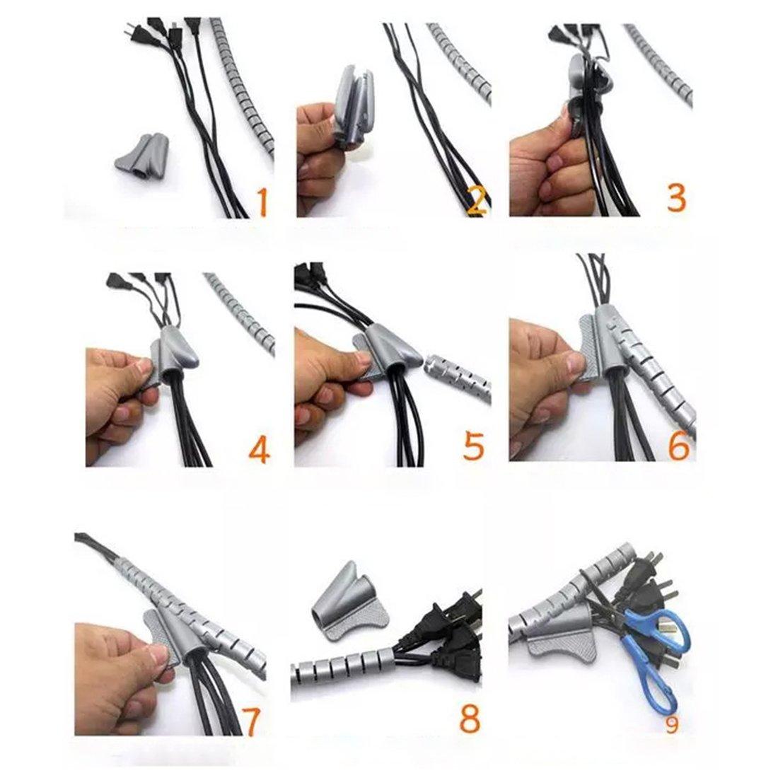 Schwarz 1.5M 10mm Flexibel Kabelspirale Spiralband Kabelschlauch Kabelschutz