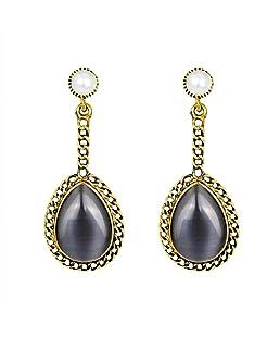 SEniutarm Retro Faux Opal Hollow Drop Pendant Earrings Party Club Eardrop - Dark Gray Women Jewelry Gift