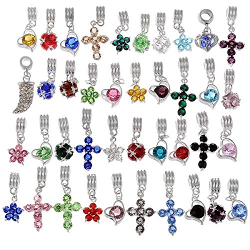 RUBYCA Mix Assortment Crystal Dangle Pendant Charm Beads Cross Flower Heart fit European Bracelet ()