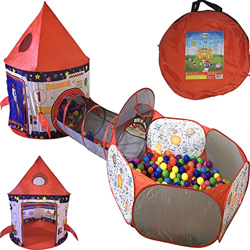 Playz 3pc Rocket Ship Astronaut Kids Play Tent, Tunnel, & Ball Pit with Basketball Hoop Toys for Boys, Girls, Babies, and Toddlers - STEM Inspired Educational Galactic Spaceship Design w/ Planets