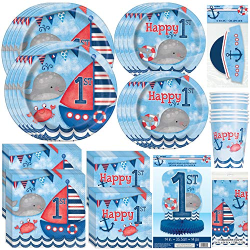 Unique Little Sailor Nautical First Birthday Party Bundle | Napkins, Plates, Table Cover, Cups, Hats, Centerpiece | Great for Sea/Marine/Ocean Themed Parties -