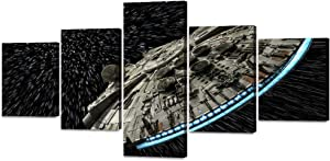 Star Wars Destroyer Millennium Falcon Wall Art 5 PC Canvas Painting Modern Abstract Print Picture Poster Artwork for Living Room Bedroom Office Home Decor Stretched Framed Ready to Hang (50''Wx24''H)