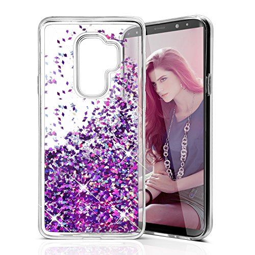 - Galaxy S9 Plus Case, Asstar Flowing Liquid Floating Luxury Bling Glitter Sparkle Durable TPU Hybrid Bumper Girl's Full Body Protection Case for Samsung Galaxy S9 Plus (Purple)