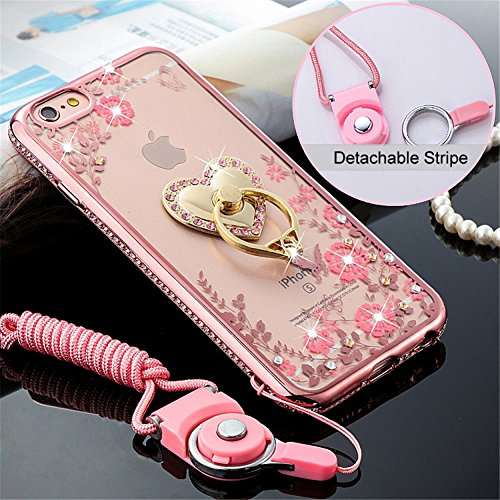iPhone 6s Case, iPhone 6 Case, Deluxe Edition Rhinestones Soft Cases with Ring Holders & Hand Straps for iPhone6 iPhone6s (4.7)