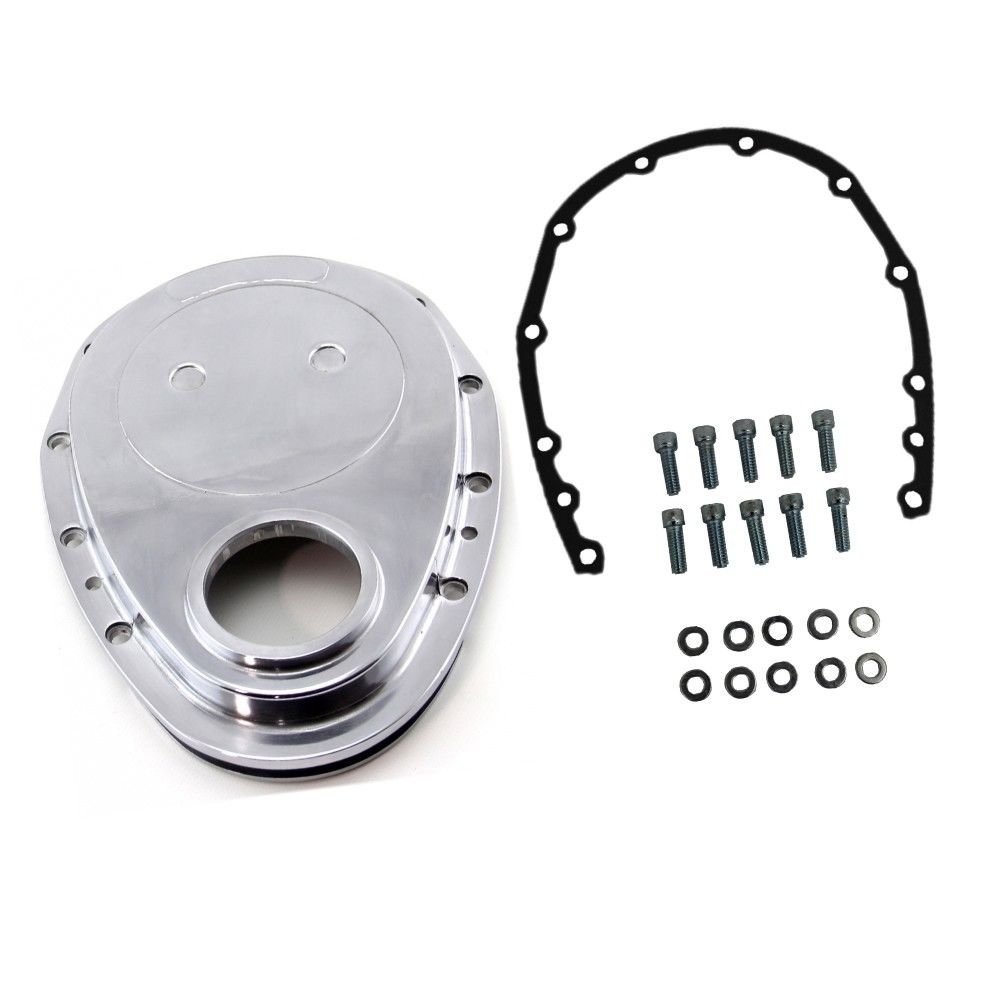 Polished Aluminum Timing Chain Cover For SBC Small Block Chevy 283 305 327 350 DEMOTOR